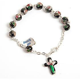 Single decade rosary bracelets: Black cloisonnè rosary bracelet