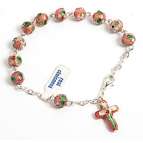 Pink cloisonnè rosary bracelet s1