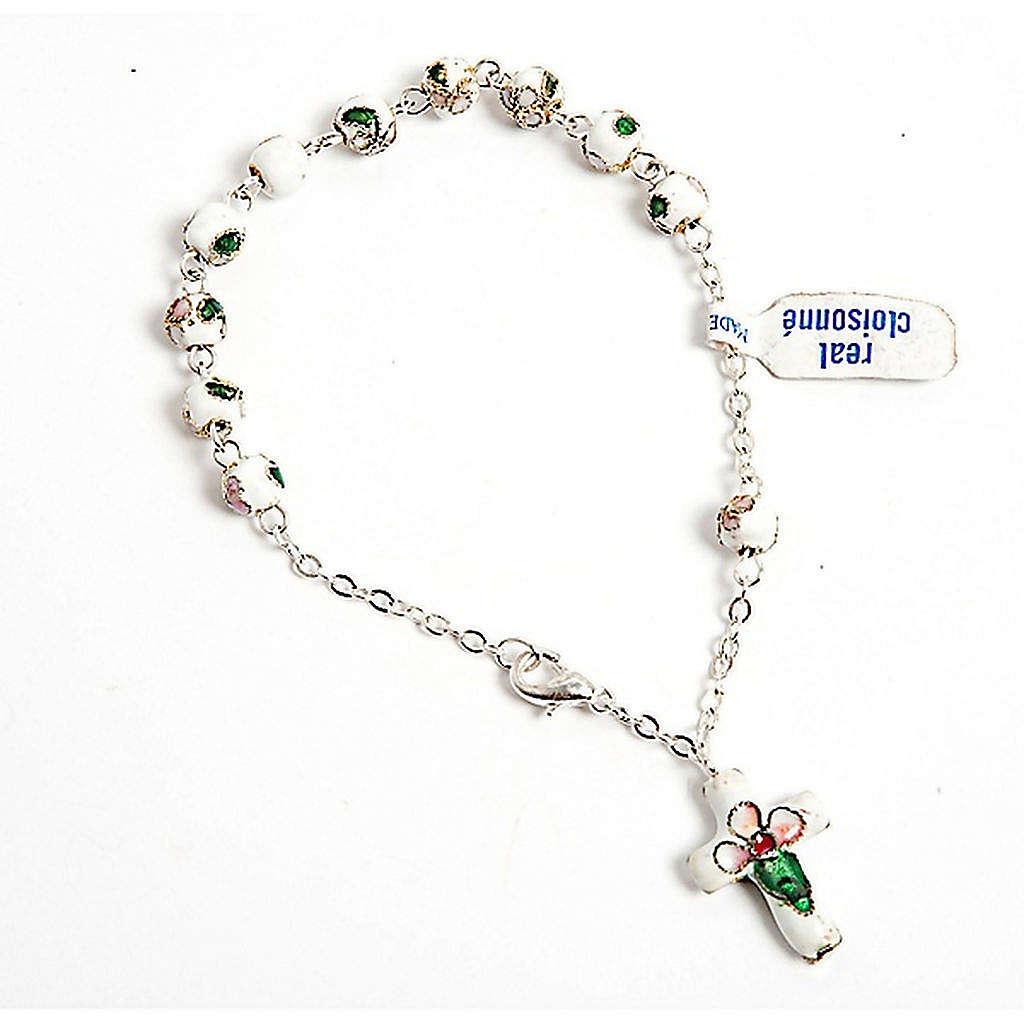 White cloisonnè rosary bracelet 6mm 4