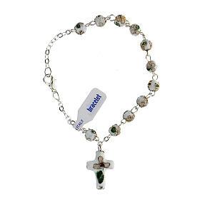White cloisonnè rosary bracelet 6mm s2