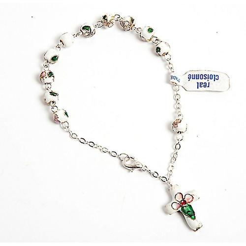 White cloisonnè rosary bracelet 6mm 1