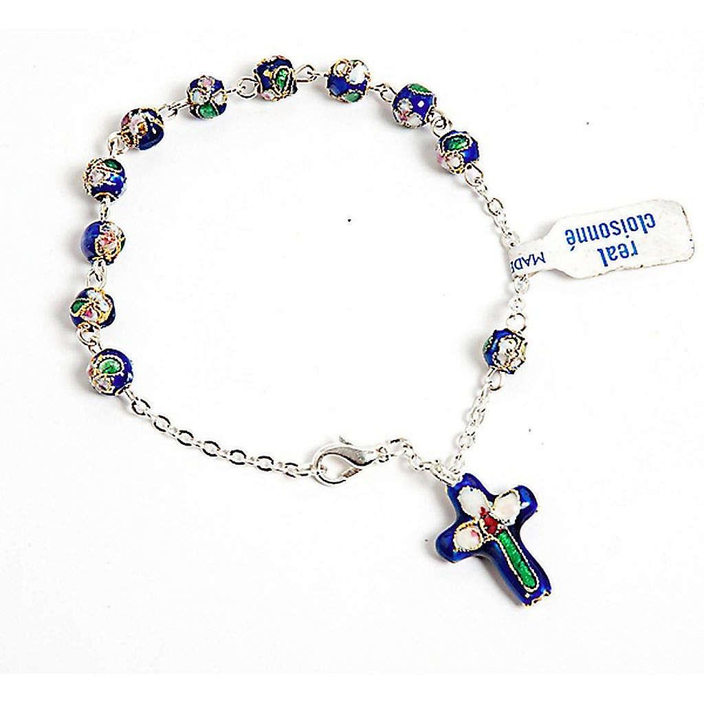 Dark blue cloisonnè rosary bracelet 4