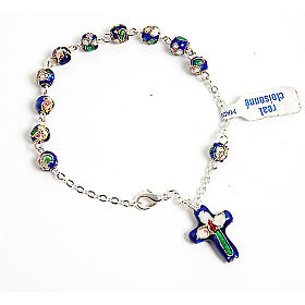 Single decade rosary bracelets: Dark blue cloisonnè rosary bracelet