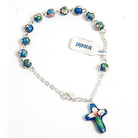 Single decade rosary bracelets: Blue cloisonnè rosary bracelet
