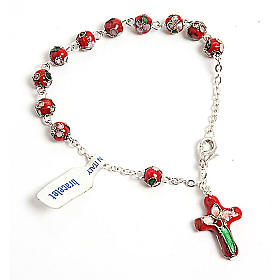 Single decade rosary bracelets: Red cloisonnè rosary bracelet