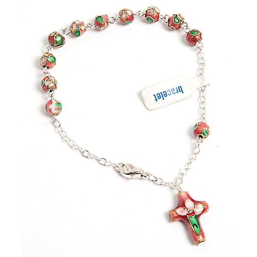 Pink cloisonnè rosary bracelet 4