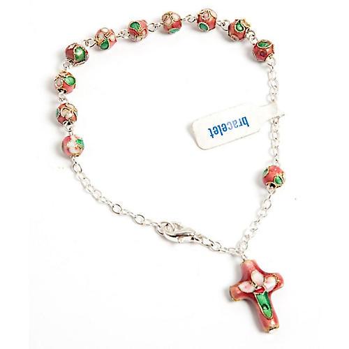 Pink cloisonnè rosary bracelet 1