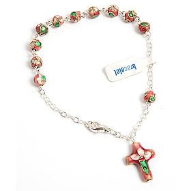 Bracelet-Dizainier, dix grains, cloisonné, rose s1