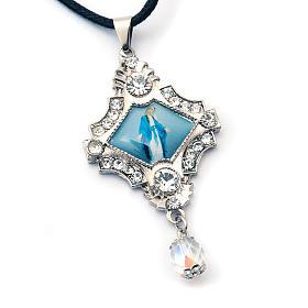 Croix pendentif, image Vierge,verre, nacre, paillettes s6