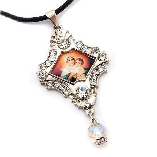 Croix pendentif, image Vierge,verre, nacre, paillettes 5