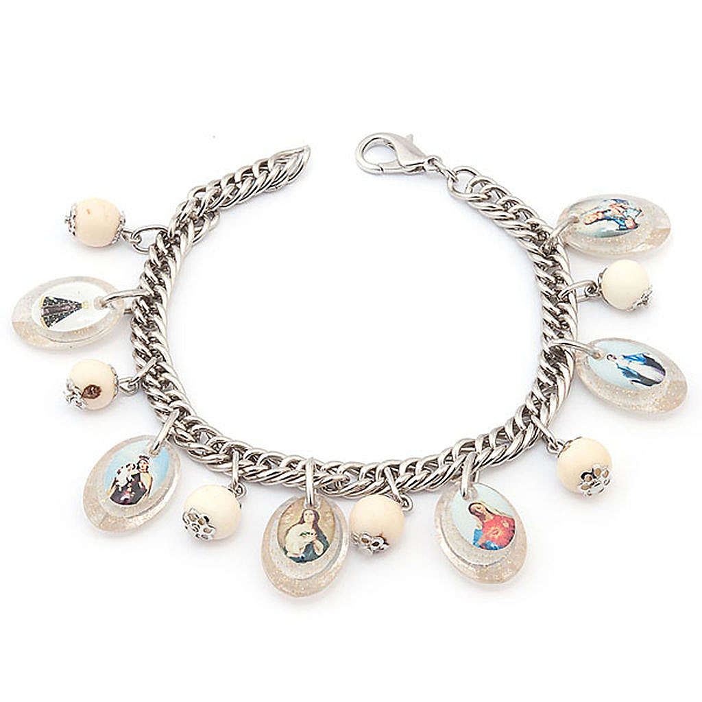 Bracciale multimmagine perle bianche 4