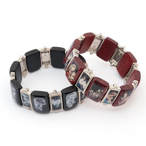 Bracelet-chapelet, Vierge, bois, métal 1