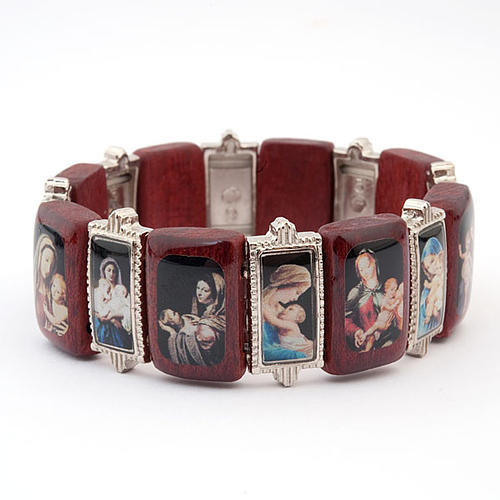 Bracelet-chapelet, Vierge, bois, métal 2