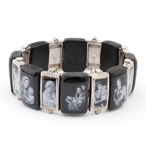 Bracelet-chapelet, Vierge, bois, métal 3