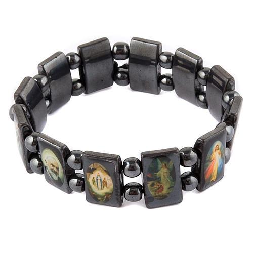 Oval multi-image hematite bracelet 1
