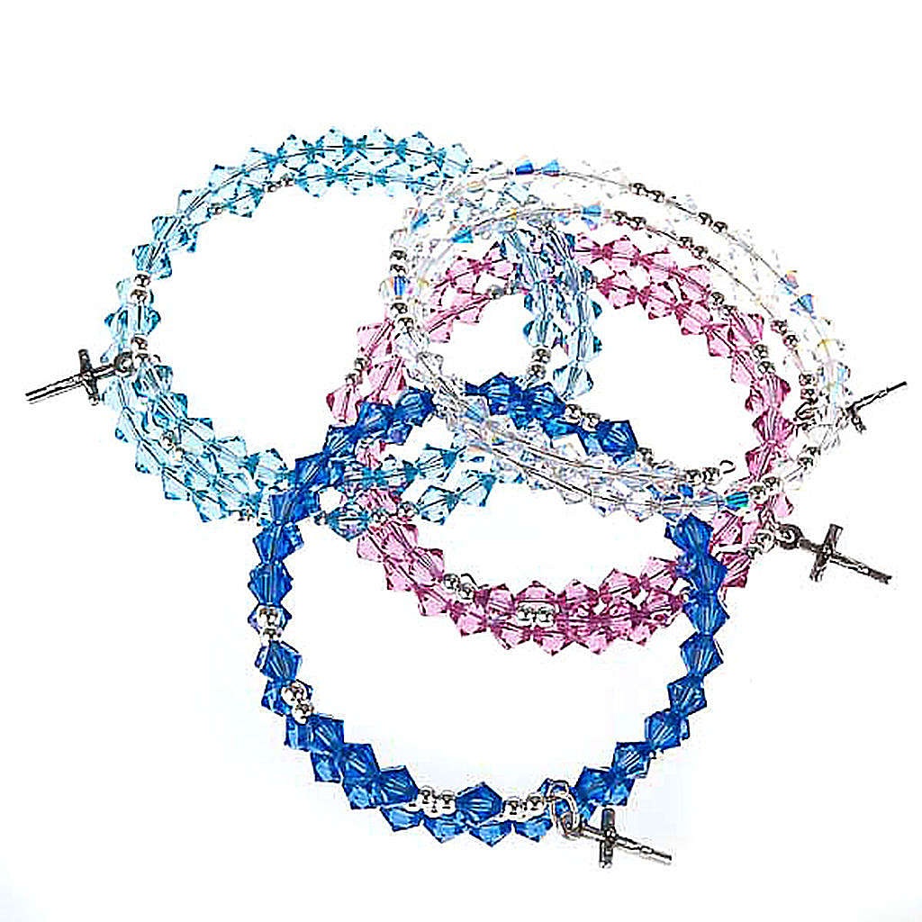 Spiralenförmiges, silbernes Swarovski Rosenkranz-Armband 4