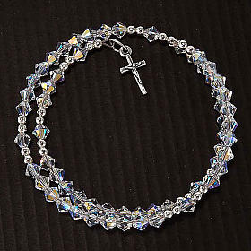 Silver rosary bracelet with Swarovski s6