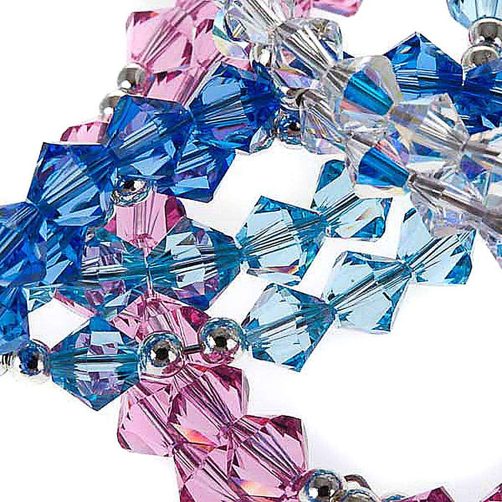 Pulsera rosario Swarovski espiral plata 4