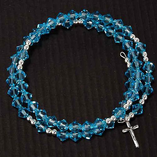 Pulsera rosario Swarovski espiral plata 5