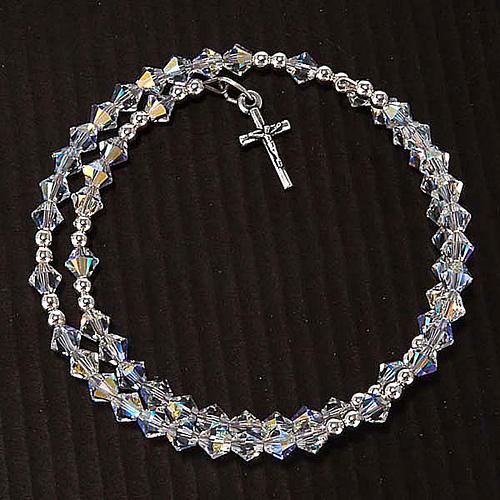 Pulsera rosario Swarovski espiral plata 6