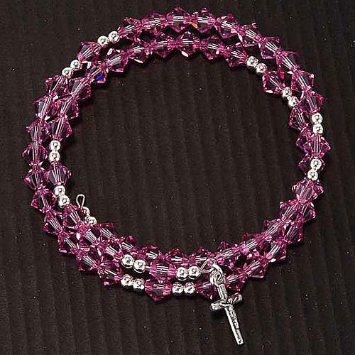 Pulsera rosario Swarovski espiral plata 7