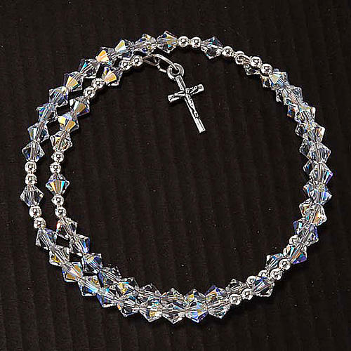 Silver rosary bracelet with Swarovski 6