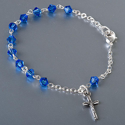 Pulsera rosario Swarovski cadena plata 2