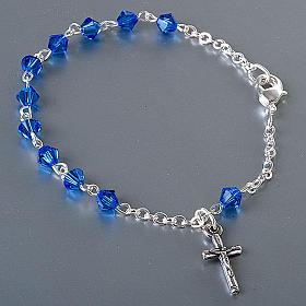 Bracelet-chapelet, à ressort,  perle bleu s2