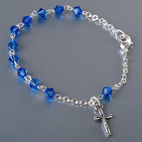 Bracelet-chapelet, à ressort,  perle bleu 2