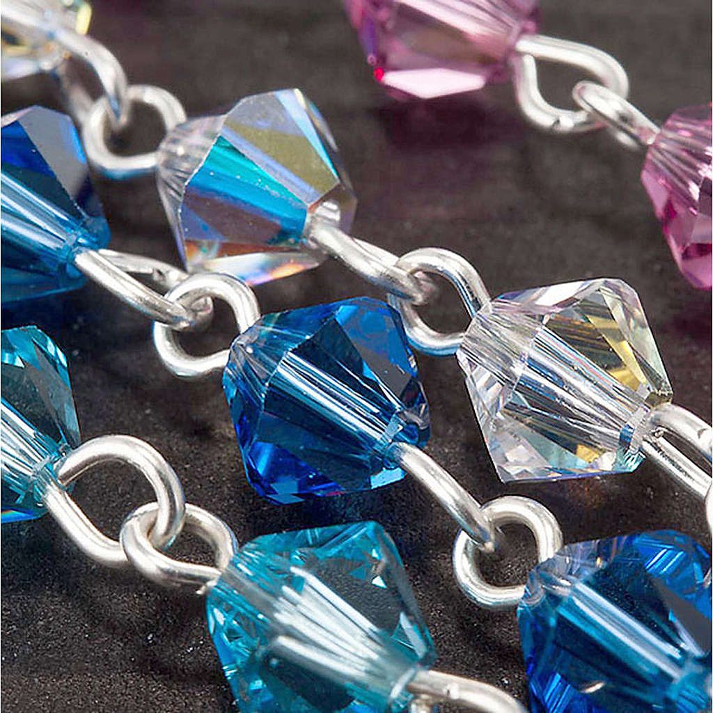 Silver decade rosary bracelet with Swarovski 4