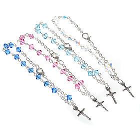 Silver decade rosary bracelet with Swarovski s1