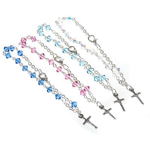 Silver decade rosary bracelet with Swarovski 1