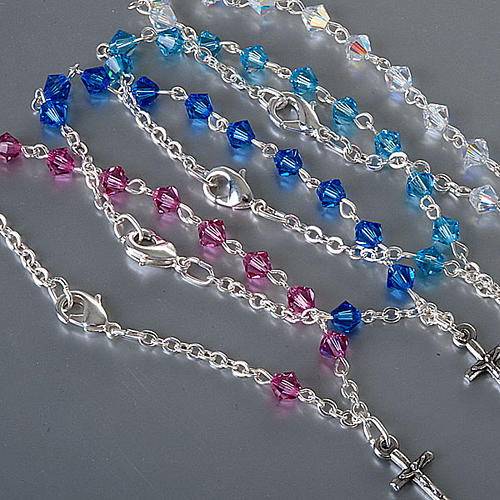Silver decade rosary bracelet with Swarovski 3