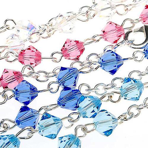 Silver decade rosary bracelet with Swarovski 7