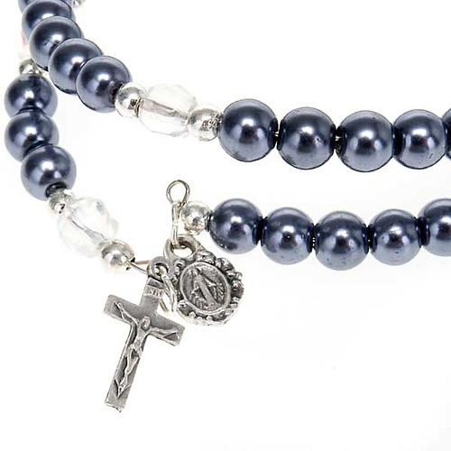 Rosary wrap around bracelet in faux hematite 3