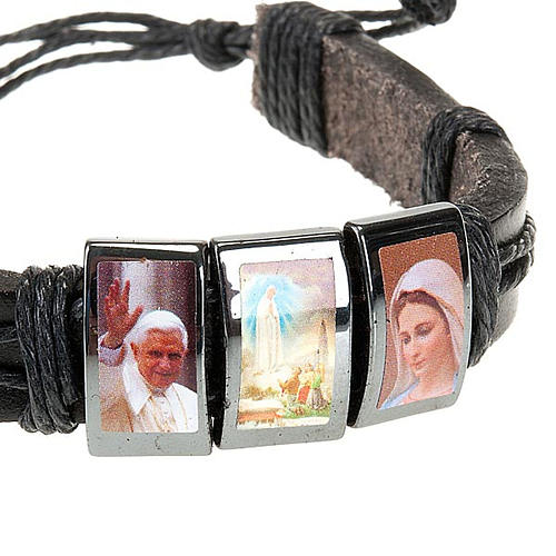 Bracelet, images, cuir, hématite 4