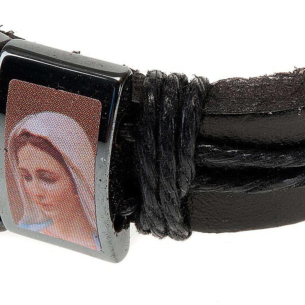 Multi-image hematite and leather bracelet 4