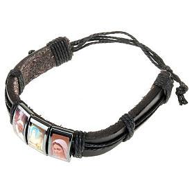 Multi-image hematite and leather bracelet s3