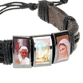 Multi-image hematite and leather bracelet s4