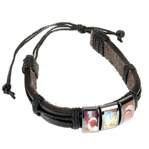 Multi-image hematite and leather bracelet 1
