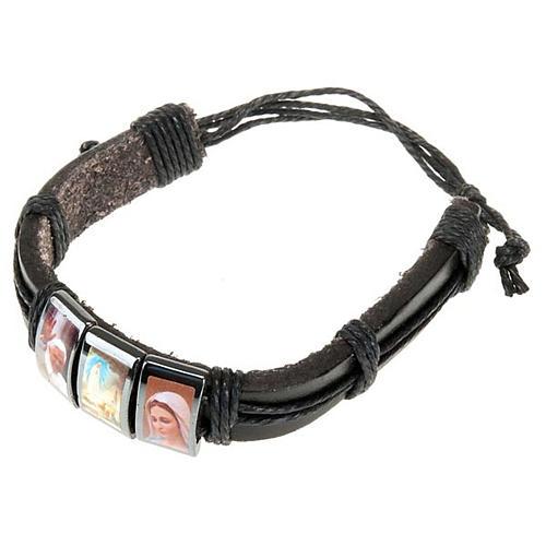Multi-image hematite and leather bracelet 3
