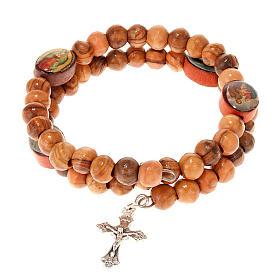 Olive wood multi-image spring bracelet s1
