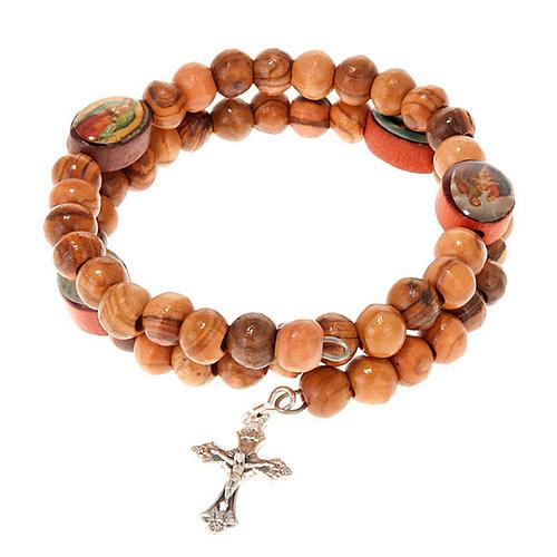 Bracelet à ressort en bois d'olivier avec image 1