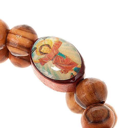 Bracelet à ressort en bois d'olivier avec image 2