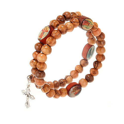 Bracelet à ressort en bois d'olivier avec image 3
