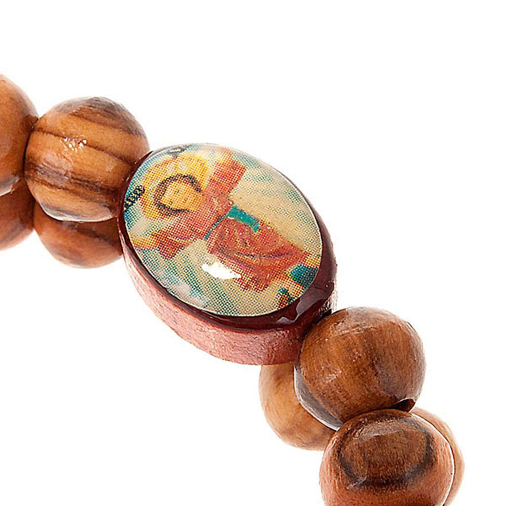 Bracciale a molla in legno d'ulivo con immagine 4