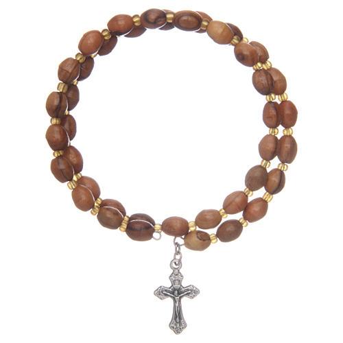 Bracciale rosario a molla in olivo 1