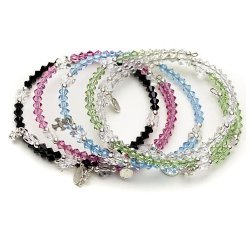 Spiral bracelet in sterling silver and steel with Swarovski 1