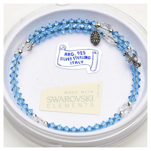 Spiral bracelet in sterling silver and steel with Swarovski 4