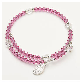 Spiral bracelet in sterling silver and steel with Swarovski s3